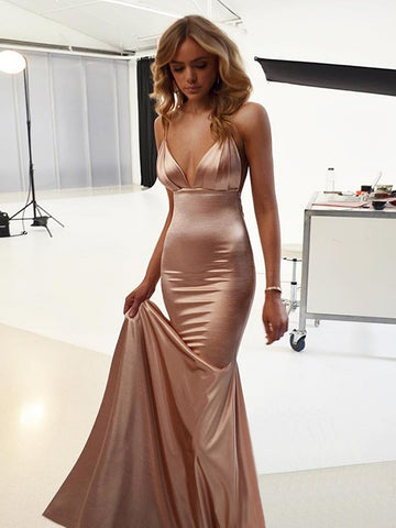 Custom Made V Neck Champagne Mermaid Backless Prom Dresses, Champagne Backless Formal Graduation Dresses