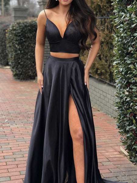 Custom Made A Line 2 Pieces Black Prom Dress with Leg Slit, 2 Pieces Black Formal Graduation Dresses