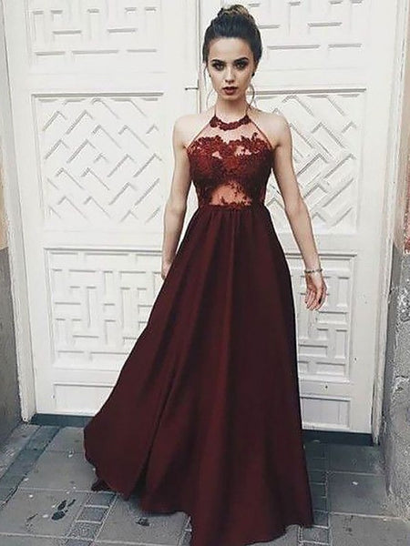 A Line High Neck Burgundy Lace Prom Dresses, Burgundy Lace Formal Graduation Evening Dresses