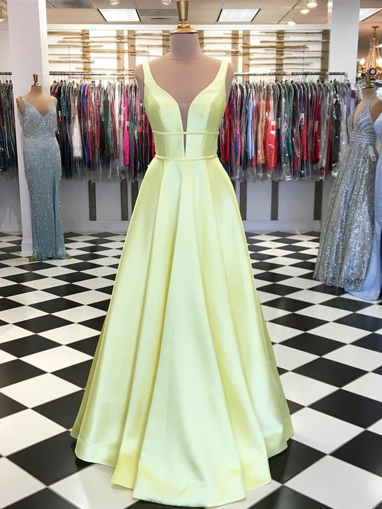 A Line V Neck Yellow Prom Dresses, Yellow V Neck Formal Graduation Evening Dresses