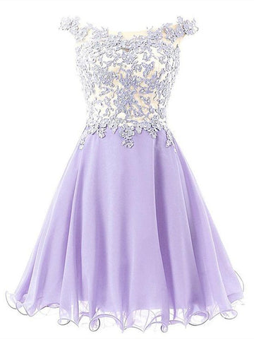 A Line Round Neck Short Lace Prom Dresses, Short Green/Pink/Purple Lace Formal Graduation Evening Dresses