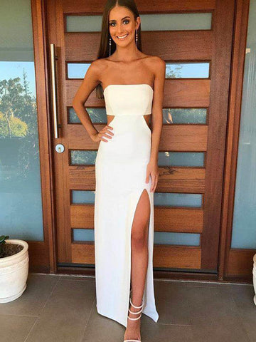 A Line Strapless White Prom Dress with Waist Cutout, Waist Cutout White Formal Evening Dresses