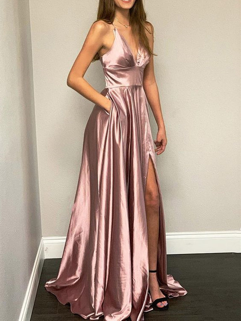 A Line V Neck Rose Gold Prom Dress with High Slit, Rose Gold V Neck Formal Graduation Evening Dresses