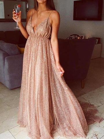 A Line V Neck Backless Prom Dresses, Champagne V Neck Formal Dresses, Evening Dresses