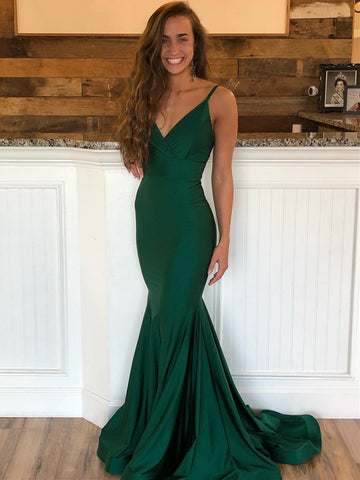 Emerald Green V Neck Mermaid Prom Dresses with Sweep Train, Emerald Green Mermaid Formal Graduation Evening Dresses