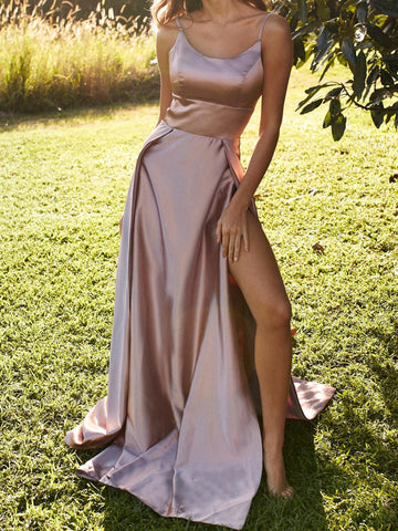 A Line Champagne Prom Dress with Leg Slit, Champagne Formal Dresses, Graduation Dresses