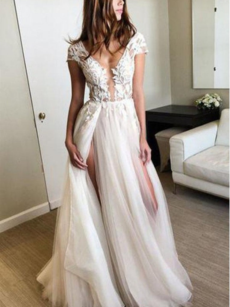 Round Neck Cap Sleeves Backlesss Lace Wedding Dresses Ivory Backless €� Jbydress: Dd Neck Wedding Dress At Websimilar.org