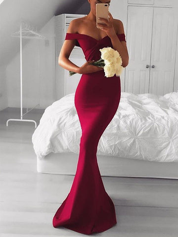 Custom Made Off Shoulder Burgundy Mermaid Prom Dresses, Burgundy Formal Dresses, Mermaid Evening Dresses