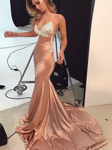 Custom Made Mermaid Champagne Lace Prom Dresses, Champagne Mermaid Formal Graduation Dresses