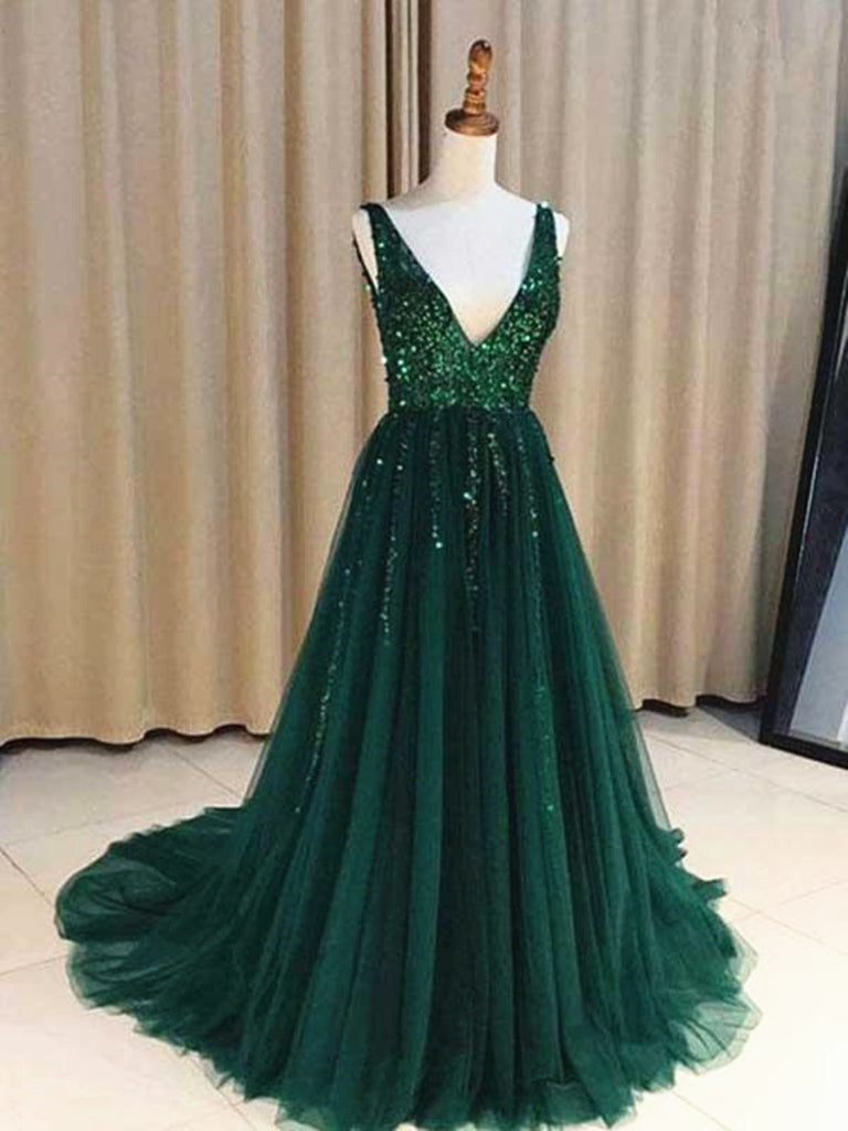 Custom Made A Line V Neck Emerald Green Backless Prom Dresses, Backless Green Graduation Formal Dresses