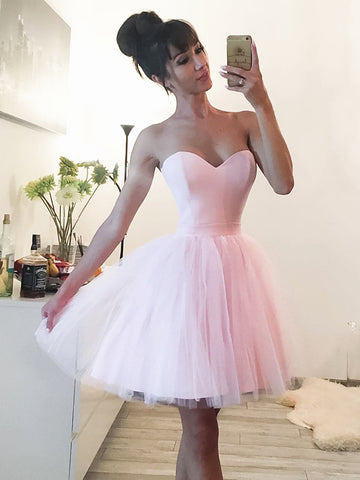 A Line Sweetheart Neck Short Pink Prom Dresses, Short Pink Formal Graduation Homecoming Dresses