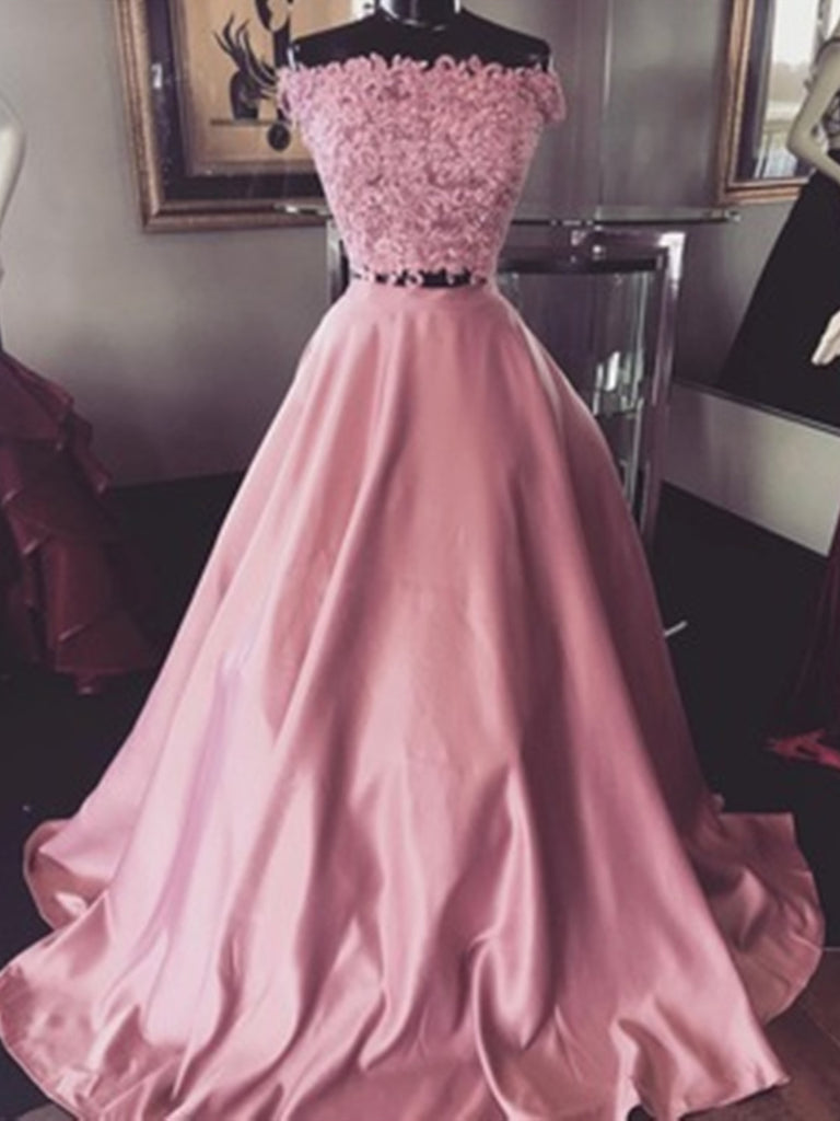 Custom Made Pink Off Shoulder Lace Prom Dresses, Pink Lace Formal Evening Dresses