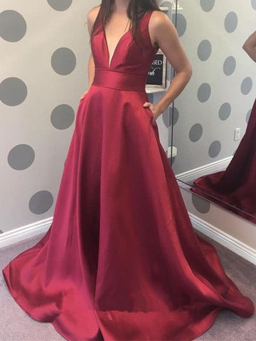 A Line V Neck Burgundy Prom Dress with Pocket, Burgundy V Neck Formal Evening Graduation Dresses