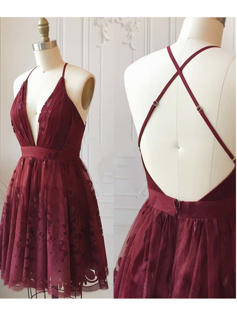 A Line V Neck Short Burgundy Lace Prom Dresses, Short Burgundy Lace Formal Homecoming Dresses