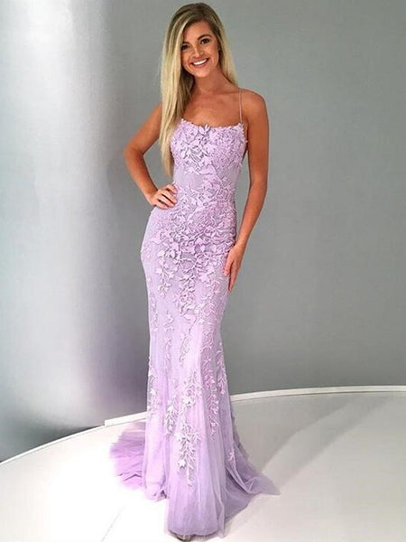Purple Backless Lace Prom Dresses, Lilac Backless Lace Formal Graduation Evening Dresses
