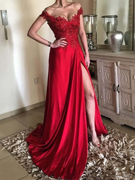 Custom Made Off Shoulder Red Lace Prom Dresses, Red Off Shoulder Lace Formal Evening Graduation Dresses