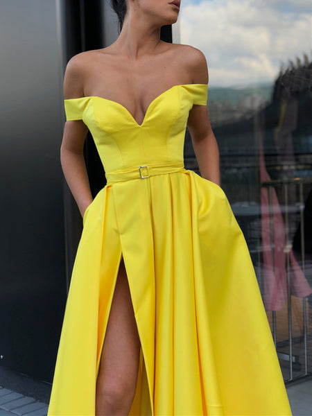 Off the Shoulder Yellow Prom Dress with Leg Slit, Yellow Off Shoulder Floor Length Formal Graduation Evening Dresses