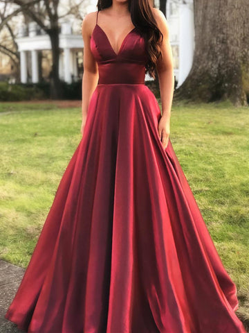 A Line V Neck Burgundy Prom Dresses, Burgundy V Neck Formal Graduation Evening Dresses