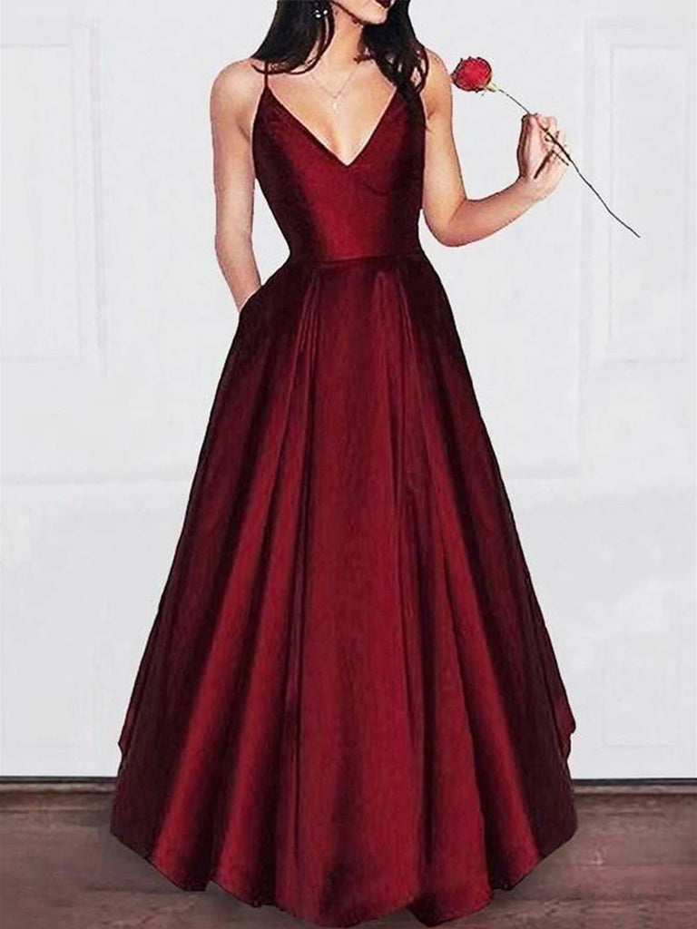 A Line V Neck Burgundy Floor Length Prom Dresses, Burgundy V Neck Formal Graduation Evening Dresses