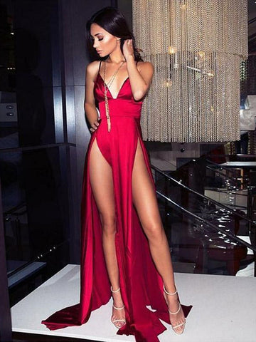 Sexy V Neck Spaghetti Straps Burgundy Prom Dress with High Leg Slit, Burgundy V Neck Formal Graduation Evening Dresses