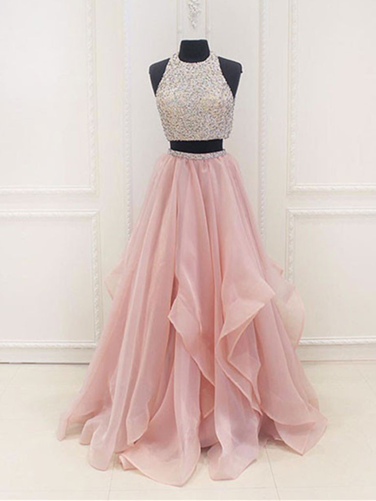 d98af37e7f8b9 Custom Made A Line Round Neck 2 Pieces Pink Prom Dresses