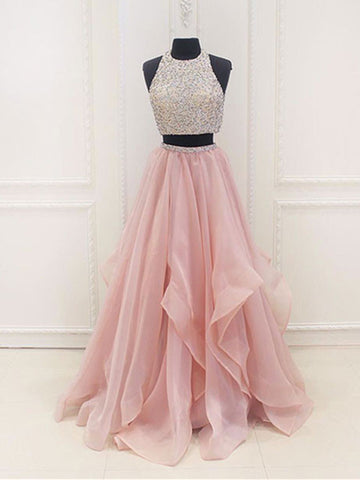 d93b1da3ce68 Custom Made A Line Round Neck 2 Pieces Pink Prom Dresses, 2 Pieces Pink  Formal