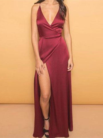 A Line V Neck Burgundy Prom Dress, Burgundy Formal Dress, V Neck Evening Dress