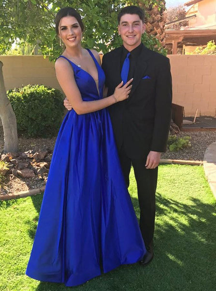 A Line V Neck Royal Blue Prom Dresses, Royal Blue V Neck Formal Graduation Evening Dresses