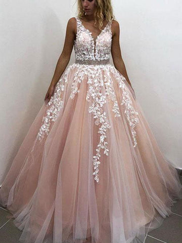 V Neck Pink Lace Prom Dreses, Pink Lace Prom Gown, Pink V Neck Lace Formal Graduation Evening Dresses