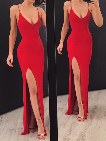 Red Mermaid Prom Dresses with Spaghetti Straps, Red Floor Length Mermaid Evening Formal Dresses