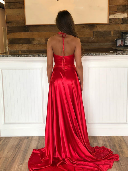 A Line Halter Neck Red Prom Dresses with Leg Slit, Halter Neck Red Open Back Formal Graduation Evening Dresses