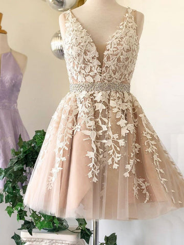 V Neck Short Champagne Lace Prom Dresses, Short V Neck Champagne Lace Graduation Homecoming Formal Dressses