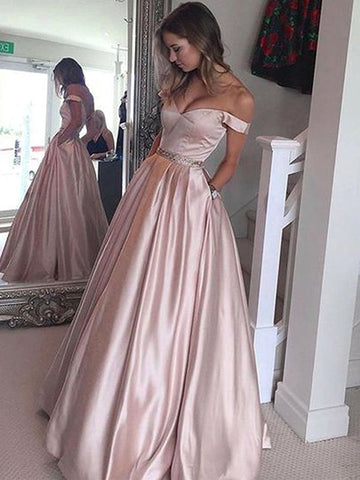Elegant Off shoulder Floor Length Satin Prom Dress, Off Shoulder Formal Dress, Graduation Dress