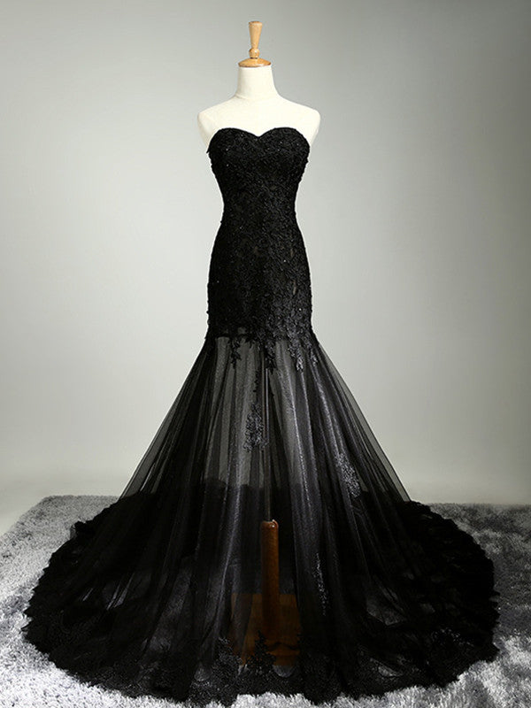 Custom Made Sweetheart Neck Mermaid Black Lace Prom Dresses with Sweep Train, Black Lace Formal Dresses
