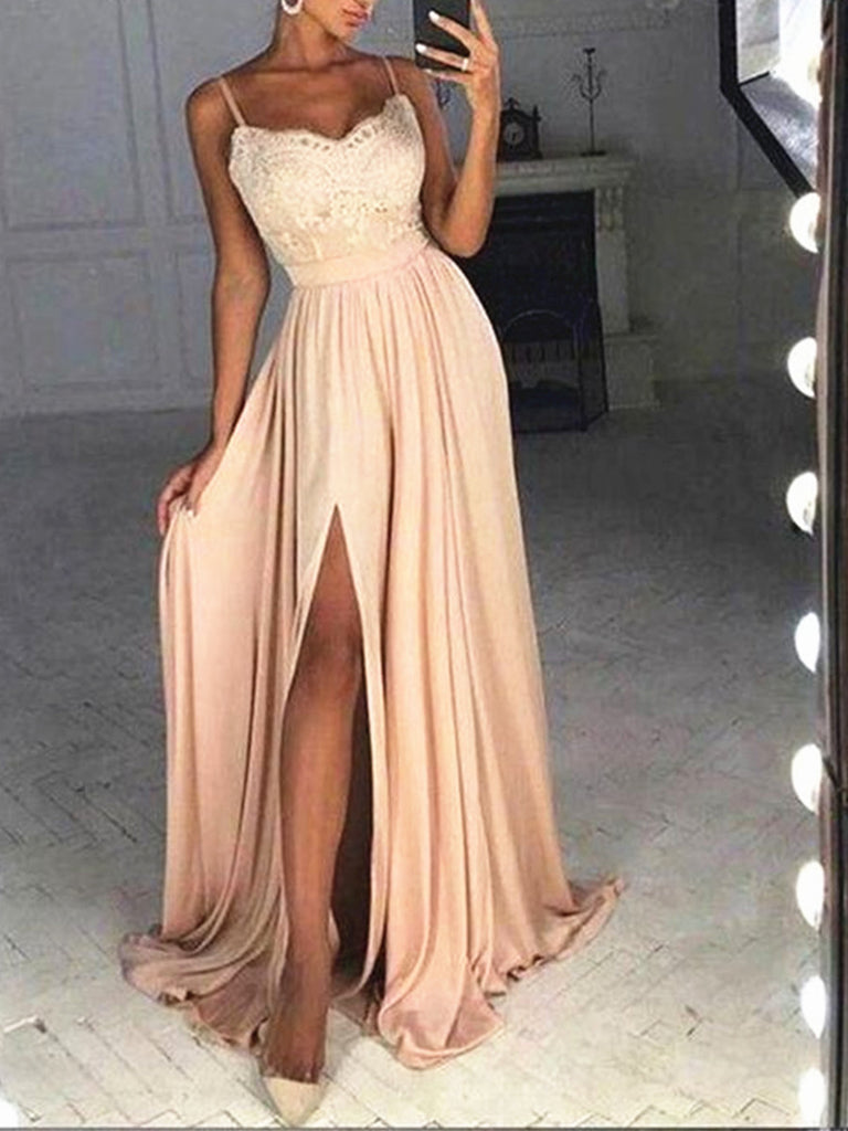 A Line Sweetheart Neck Champagne Lace Prom Dresses, Champagne Lace Formal Dresses, Graduation Dresses