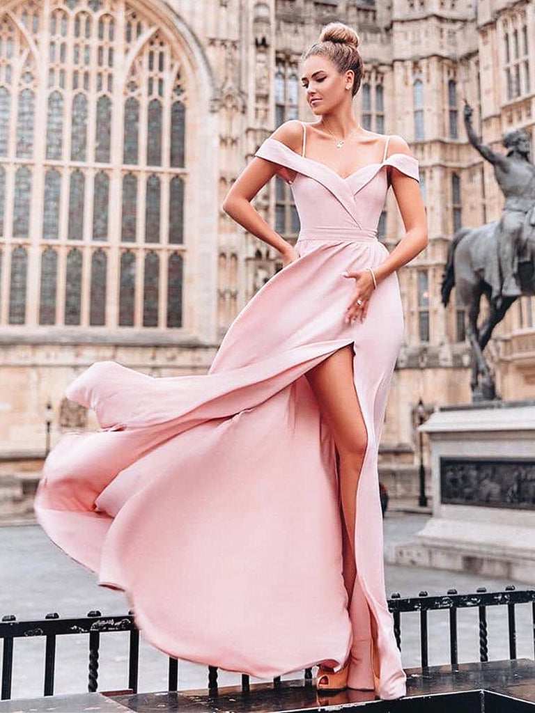 Off the Shoulder Pink Floor Length Prom Dresses Long, Pink Long Off Shoulder Bridesmaid Evening Dresses