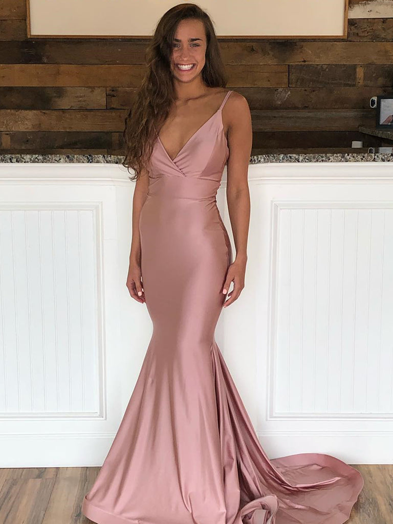 V Neck Mermaid Dusty Pink Prom Dresses with Train, Dusty Pink Mermaid Formal Evening Graduation Dresses