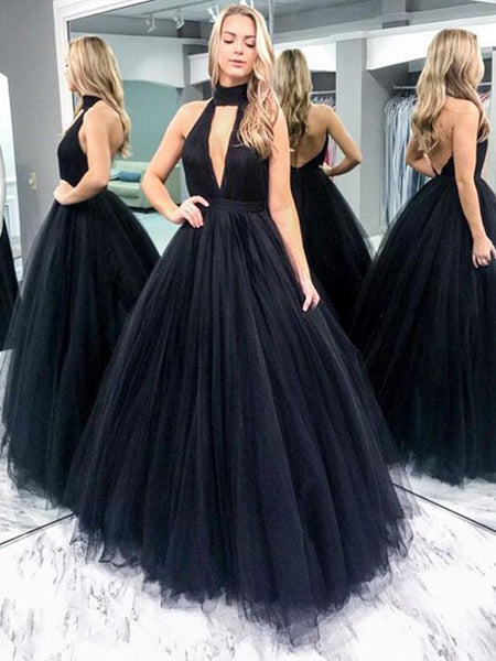 V Neck Black Backless Tulle Wedding Dresses, Black Backless Tulle Prom Gown Dresses, Formal Evening Dresses