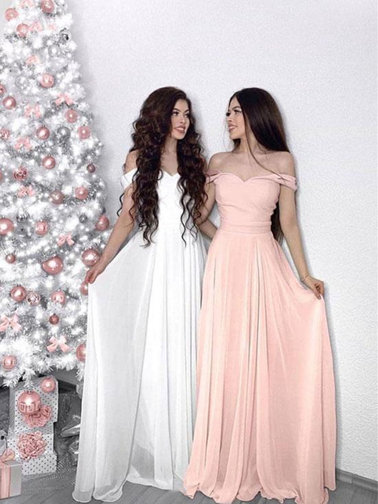 Custom Made White/Pink Off Shoulder Prom Dresses, White/ Pink Graduation Dress, Off Shoulder Formal Dresses
