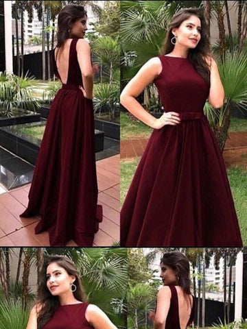 A Line Round Neck Backless Burgundy Prom Dresses, Long Burgundy Formal Dresses, Graduation Dresses