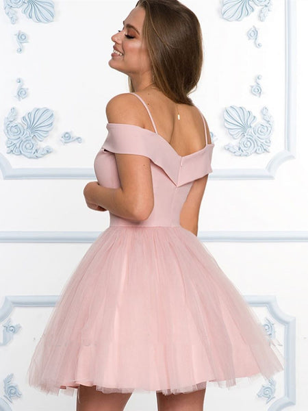 Off the Shoulder Short Pink/Navy Blue Prom Dresses, Short Pink/Navy Blue Off Shoulder Formal Graduation Homecoming Dresses