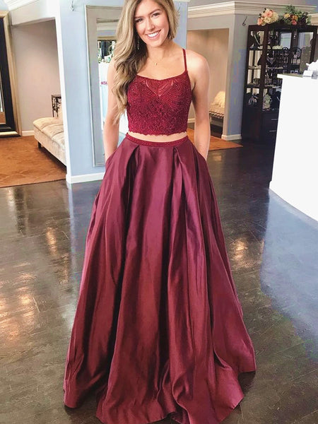 2 Pieces Burgundy Lace Prom Dresses, Two Pieces Burgundy Lace Formal Evening Dresses