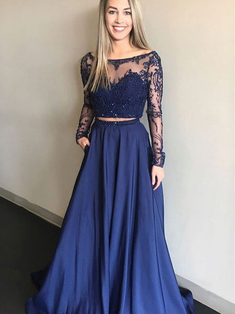 2 Pieces Long Sleeves Navy Blue Lace Prom Dresses, Navy Blue Two Pieces Lace Formal Bridesmaid Dresses