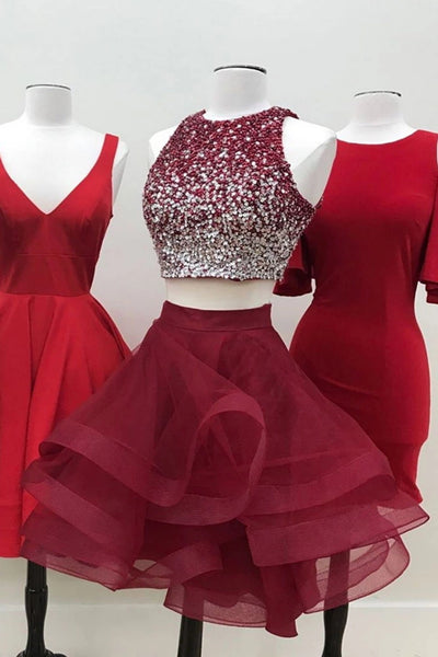 Round Neck 2 Pieces Short Burgundy Beaded Prom Dress, Two Pieces Short Burgundy Formal Homecoming Dresses