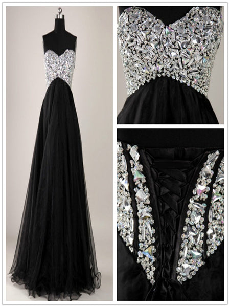 A Line Sweetheart Neck Black Floor Length Long Prom Dresses, Black Formal Dresses