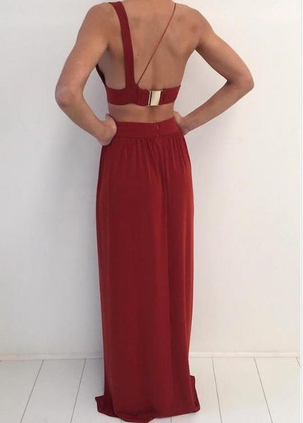 A Line 2 Pieces Backless Burgundy Prom Dress with Slit, 2 Pieces Formal Dresses, Graduation Dresses
