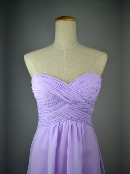 A Line Sweetheart Neck Lilac Long Prom Dress, Lilac Long Bridesmaid Dress
