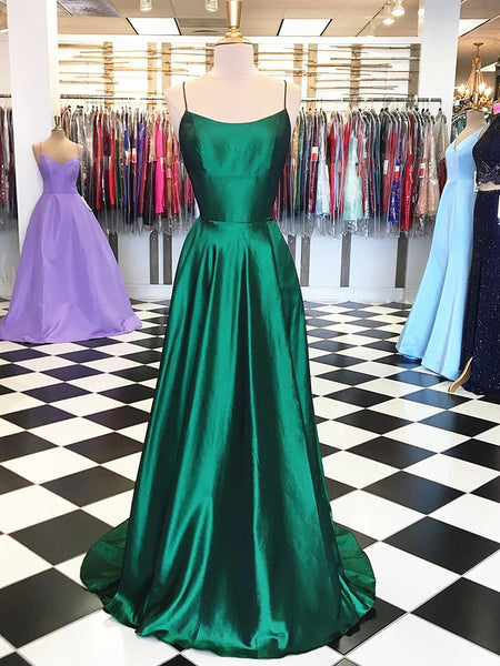 Dark Green Backless Prom Dresses, Emerald Green Backless Formal Graduation Evening Dresses