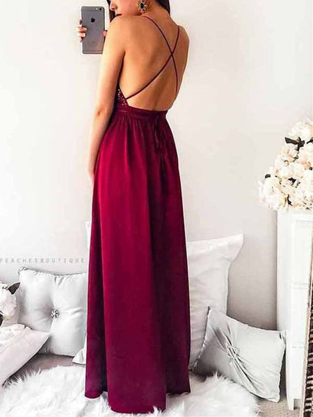 A Line V Neck Backless Burgundy Prom Dresses, Backless Burgundy Formal Dresses, Graduation Dresses, Evening Dresses