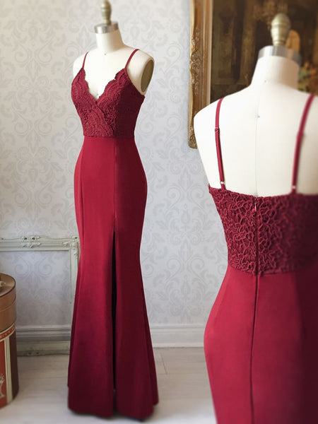 Spaghetti Straps Floor Length Burgundy Lace Prom Dresses, Burgundy Lace Formal Evening Bridesmaid Dresses